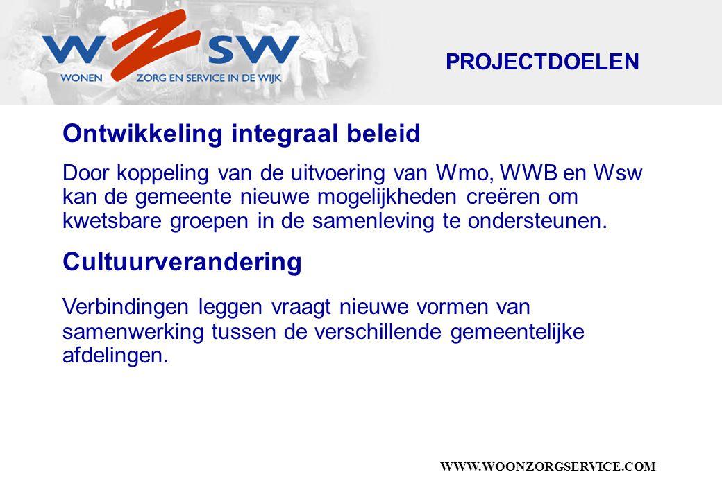 WWW.WOONZORGSERVICE.COM Ontwikkeling integraal beleid Door koppeling van de uitvoering van Wmo, WWB en Wsw kan de gemeente nieuwe mogelijkheden creëren om kwetsbare groepen in de samenleving te ondersteunen.
