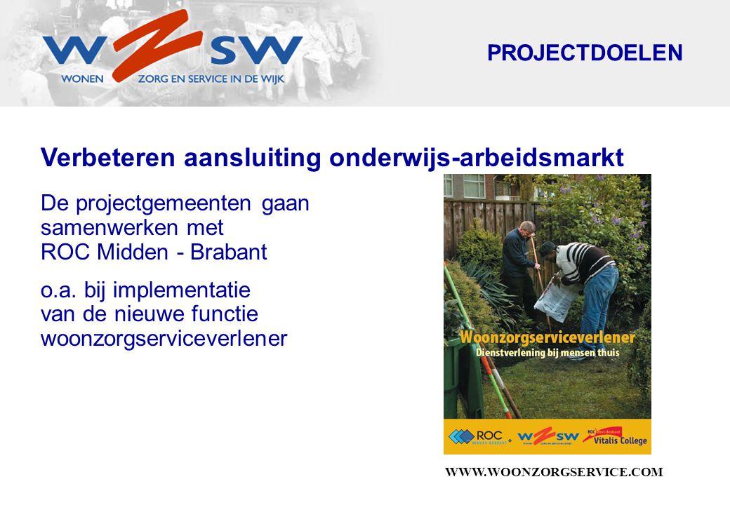 WWW.WOONZORGSERVICE.COM Verbeteren aansluiting onderwijs-arbeidsmarkt De projectgemeenten gaan samenwerken met ROC Midden - Brabant o.a.