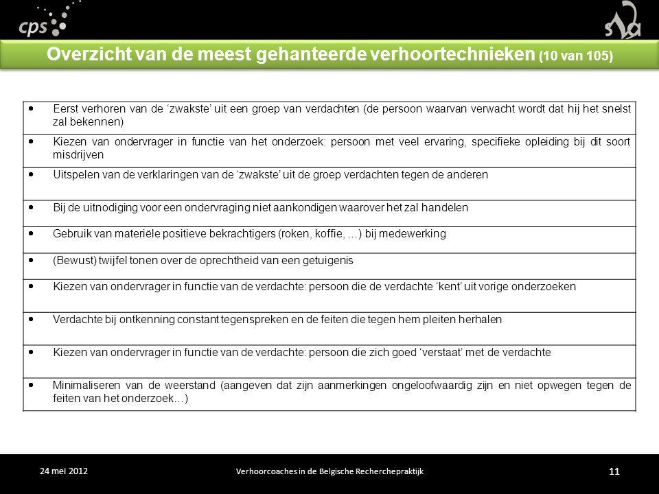 24 mei 2012 Verhoorcoaches in de Belgische Recherchepraktijk 11  Eerst verhoren van de 'zwakste' uit een groep van verdachten (de persoon waarvan verwacht wordt dat hij het snelst zal bekennen)  Kiezen van ondervrager in functie van het onderzoek: persoon met veel ervaring, specifieke opleiding bij dit soort misdrijven  Uitspelen van de verklaringen van de 'zwakste' uit de groep verdachten tegen de anderen  Bij de uitnodiging voor een ondervraging niet aankondigen waarover het zal handelen  Gebruik van materiële positieve bekrachtigers (roken, koffie, …) bij medewerking  (Bewust) twijfel tonen over de oprechtheid van een getuigenis  Kiezen van ondervrager in functie van de verdachte: persoon die de verdachte 'kent' uit vorige onderzoeken  Verdachte bij ontkenning constant tegenspreken en de feiten die tegen hem pleiten herhalen  Kiezen van ondervrager in functie van de verdachte: persoon die zich goed 'verstaat' met de verdachte  Minimaliseren van de weerstand (aangeven dat zijn aanmerkingen ongeloofwaardig zijn en niet opwegen tegen de feiten van het onderzoek…) Overzicht van de meest gehanteerde verhoortechnieken (10 van 105)
