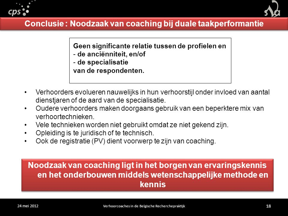 24 mei 2012 Verhoorcoaches in de Belgische Recherchepraktijk 18 Verhoorders evolueren nauwelijks in hun verhoorstijl onder invloed van aantal dienstjaren of de aard van de specialisatie.