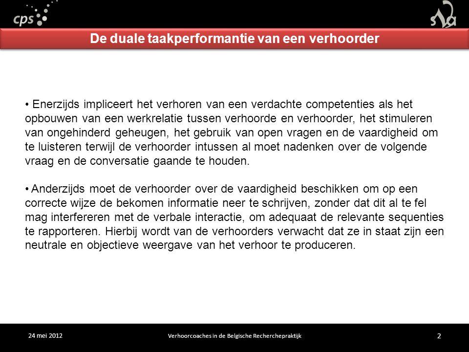 24 mei 2012 Verhoorcoaches in de Belgische Recherchepraktijk 2 De duale taakperformantie van een verhoorder Enerzijds impliceert het verhoren van een verdachte competenties als het opbouwen van een werkrelatie tussen verhoorde en verhoorder, het stimuleren van ongehinderd geheugen, het gebruik van open vragen en de vaardigheid om te luisteren terwijl de verhoorder intussen al moet nadenken over de volgende vraag en de conversatie gaande te houden.