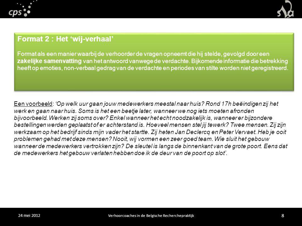 24 mei 2012 Verhoorcoaches in de Belgische Recherchepraktijk 8 Een voorbeeld: 'Op welk uur gaan jouw medewerkers meestal naar huis.