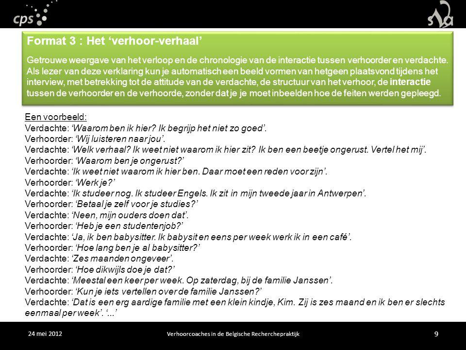 24 mei 2012 Verhoorcoaches in de Belgische Recherchepraktijk 9 Een voorbeeld: Verdachte: 'Waarom ben ik hier.
