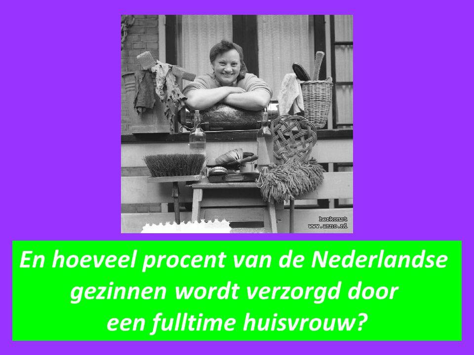 En hoeveel procent van de Nederlandse gezinnen wordt verzorgd door een fulltime huisvrouw