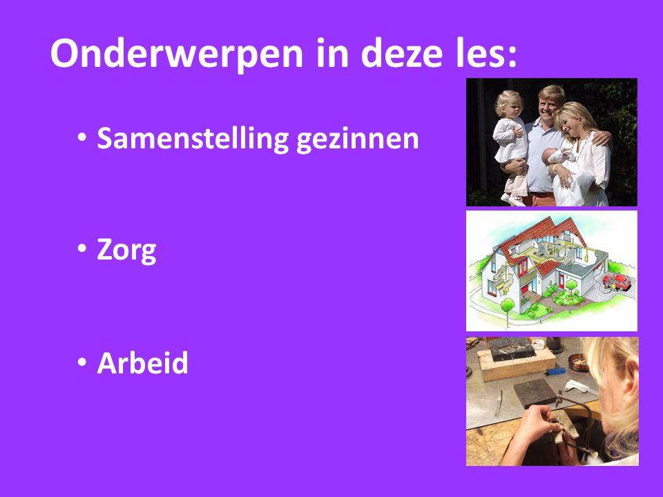 Onderwerpen in deze les: Samenstelling gezinnen Zorg Arbeid