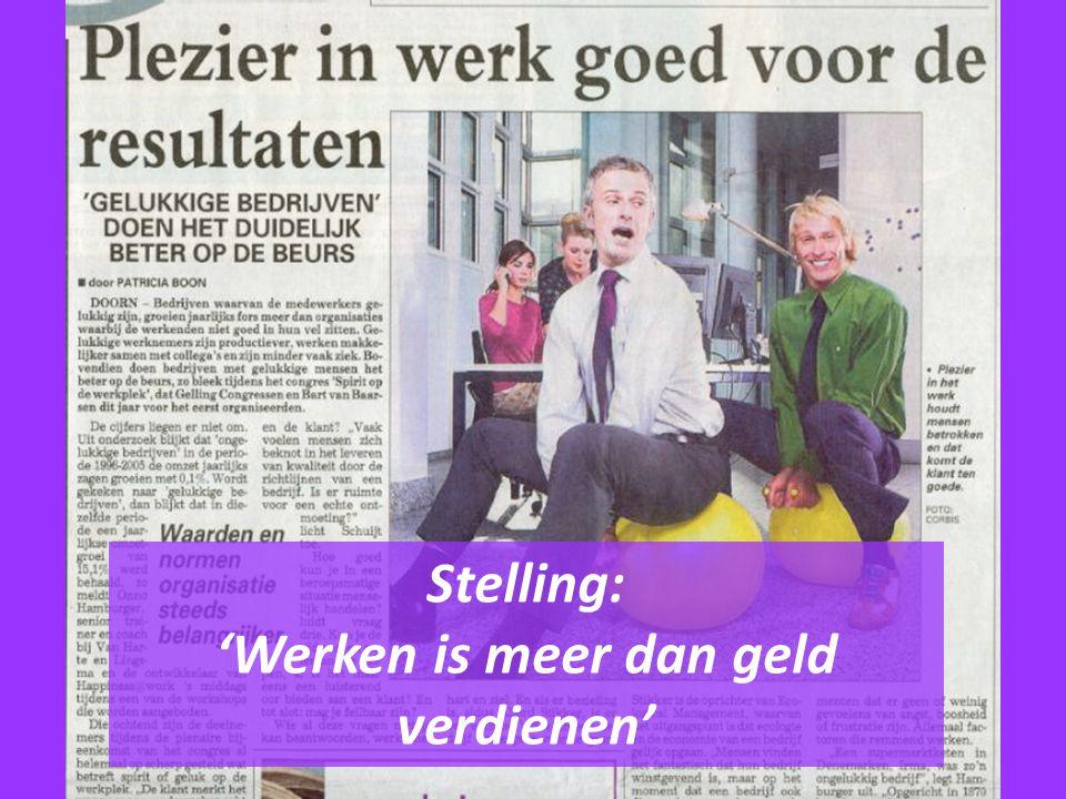 Stelling: 'Werken is meer dan geld verdienen'