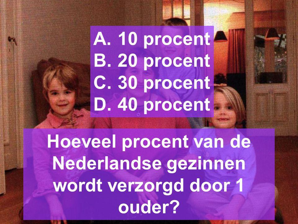 Hoeveel procent van de Nederlandse gezinnen wordt verzorgd door 1 ouder.