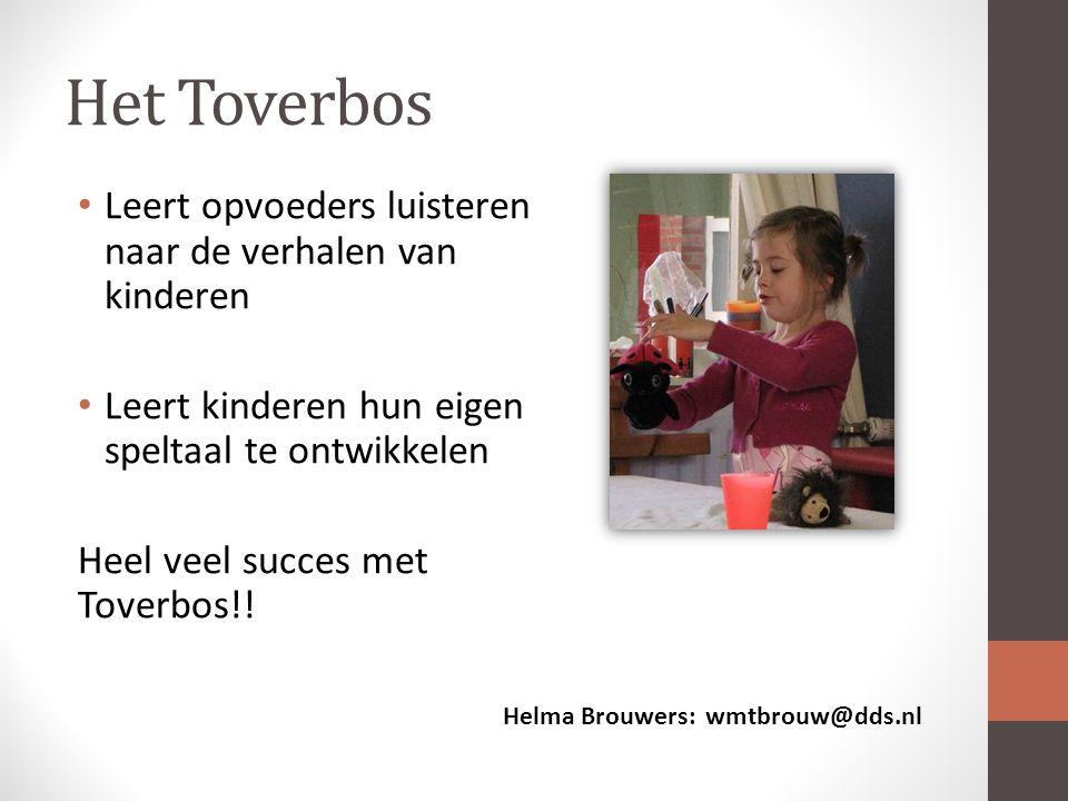 Het Toverbos Leert opvoeders luisteren naar de verhalen van kinderen Leert kinderen hun eigen speltaal te ontwikkelen Heel veel succes met Toverbos!.