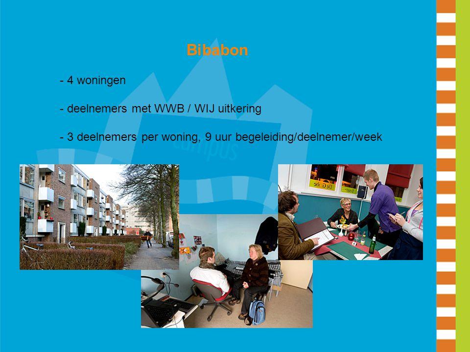 Bibabon - 4 woningen - deelnemers met WWB / WIJ uitkering - 3 deelnemers per woning, 9 uur begeleiding/deelnemer/week