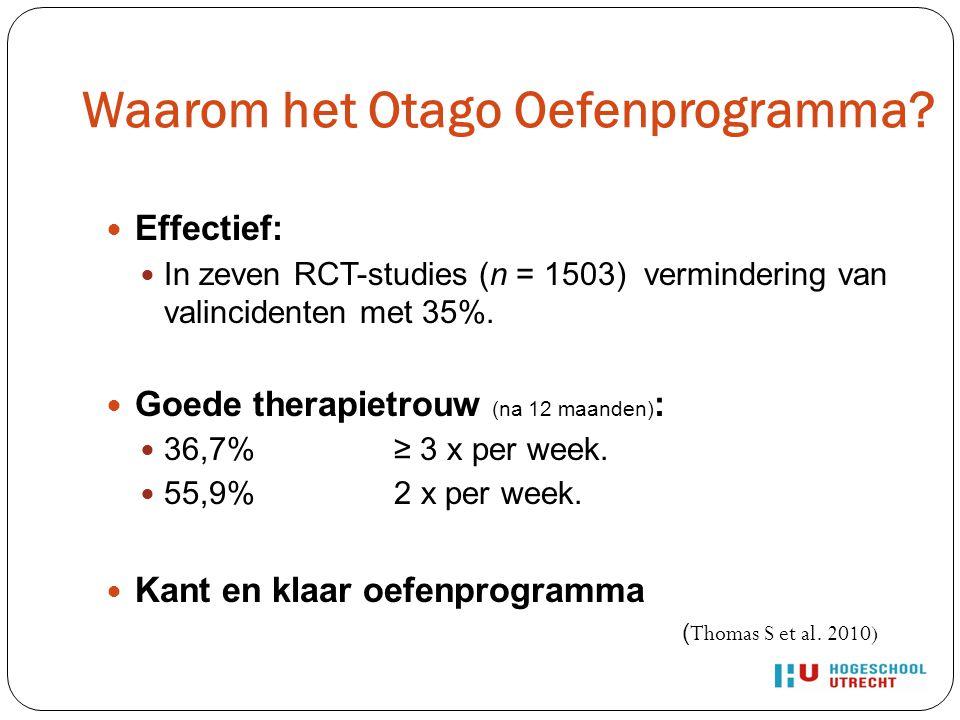 Waarom het Otago Oefenprogramma? Effectief: In zeven RCT-studies (n = 1503) vermindering van valincidenten met 35%. Goede therapietrouw (na 12 maanden