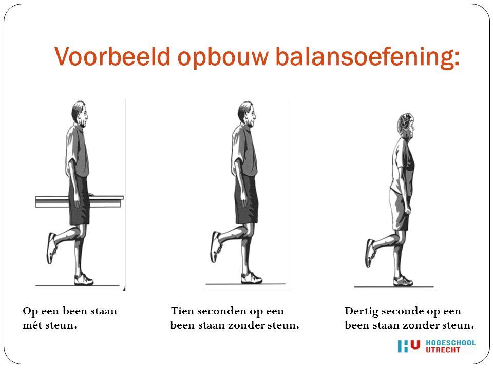 Voorbeeld opbouw balansoefening: Op een been staan mét steun. Tien seconden op een been staan zonder steun. Dertig seconde op een been staan zonder st