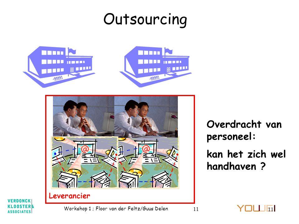 Workshop 1 ; Floor van der Feltz/Guus Delen 11 Outsourcing Overdracht van personeel: kan het zich wel handhaven ? Leverancier