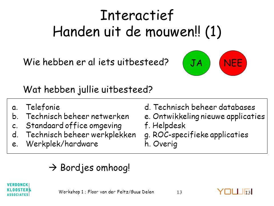 Workshop 1 ; Floor van der Feltz/Guus Delen 13 Interactief Handen uit de mouwen!! (1) Wie hebben er al iets uitbesteed? JANEE Wat hebben jullie uitbes