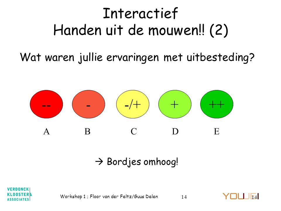 Workshop 1 ; Floor van der Feltz/Guus Delen 14 Interactief Handen uit de mouwen!! (2) Wat waren jullie ervaringen met uitbesteding? +++-/+--- A B C D