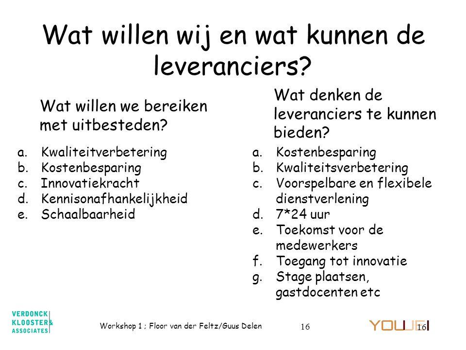Workshop 1 ; Floor van der Feltz/Guus Delen 16 Wat willen wij en wat kunnen de leveranciers? Wat willen we bereiken met uitbesteden? a.Kwaliteitverbet