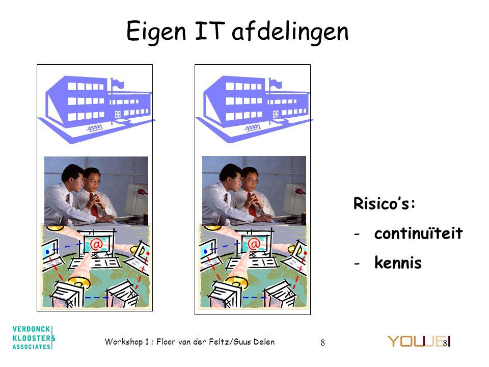 Workshop 1 ; Floor van der Feltz/Guus Delen 8 8 Eigen IT afdelingen Risico's: - continuïteit - kennis