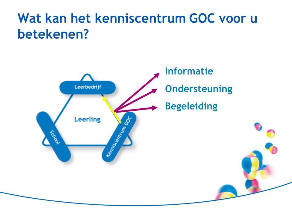 Wat kan het kenniscentrum GOC voor u betekenen? Informatie Ondersteuning Begeleiding