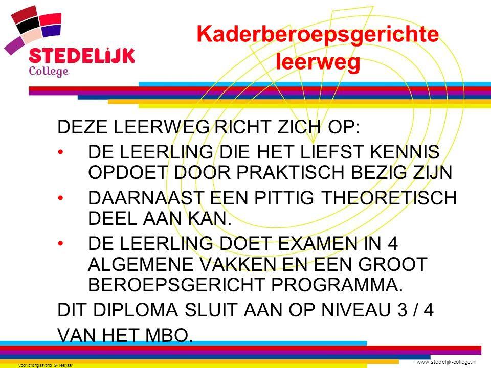 www.stedelijk-college.nl Voorlichtingsavond 2 e leerjaar DEZE LEERWEG RICHT ZICH OP: DE LEERLING DIE HET LIEFST KENNIS OPDOET DOOR PRAKTISCH BEZIG ZIJ