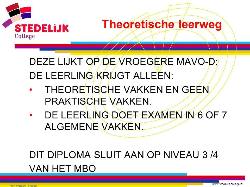 www.stedelijk-college.nl Voorlichtingsavond 2 e leerjaar DEZE LIJKT OP DE VROEGERE MAVO-D: DE LEERLING KRIJGT ALLEEN: THEORETISCHE VAKKEN EN GEEN PRAK