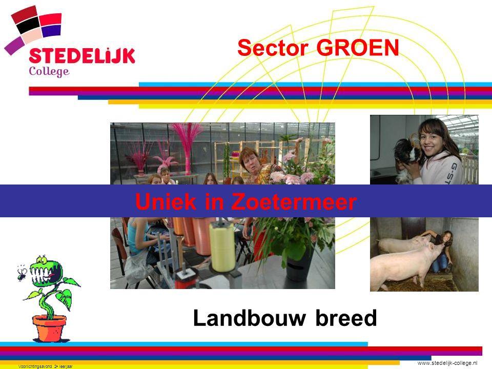 www.stedelijk-college.nl Voorlichtingsavond 2 e leerjaar Landbouw breed Uniek in Zoetermeer Sector GROEN