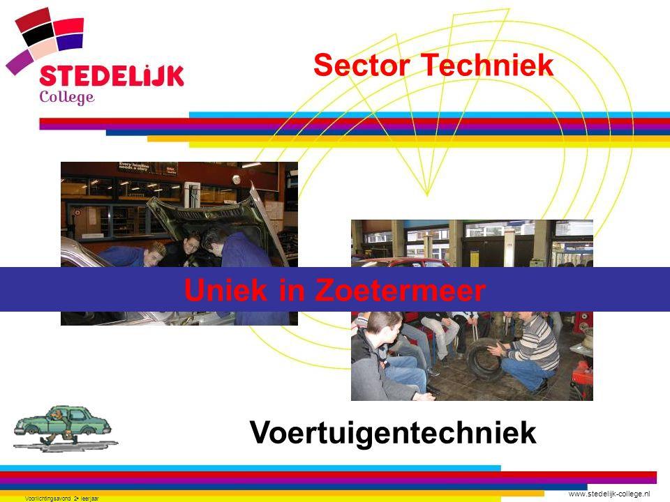 www.stedelijk-college.nl Voorlichtingsavond 2 e leerjaar Voertuigentechniek Uniek in Zoetermeer Sector Techniek