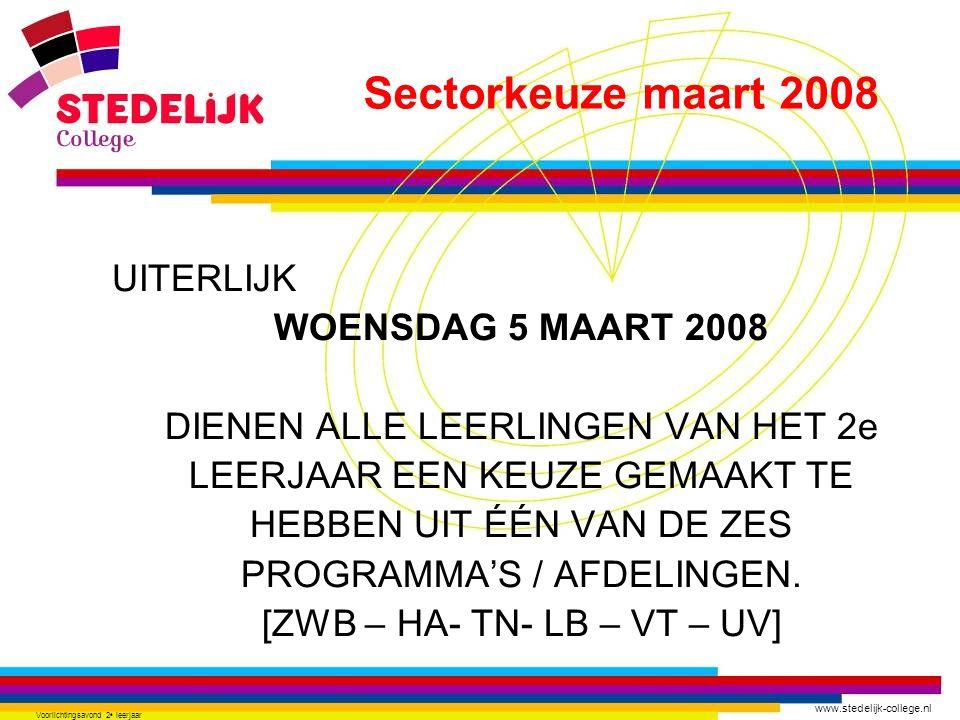 www.stedelijk-college.nl Voorlichtingsavond 2 e leerjaar UITERLIJK WOENSDAG 5 MAART 2008 DIENEN ALLE LEERLINGEN VAN HET 2e LEERJAAR EEN KEUZE GEMAAKT