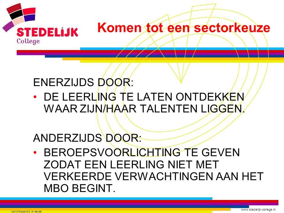 www.stedelijk-college.nl Voorlichtingsavond 2 e leerjaar ENERZIJDS DOOR: DE LEERLING TE LATEN ONTDEKKEN WAAR ZIJN/HAAR TALENTEN LIGGEN. ANDERZIJDS DOO