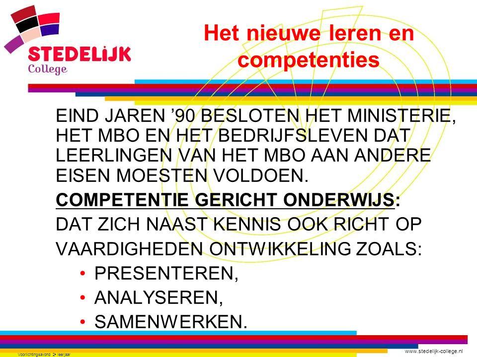 www.stedelijk-college.nl Voorlichtingsavond 2 e leerjaar EIND JAREN '90 BESLOTEN HET MINISTERIE, HET MBO EN HET BEDRIJFSLEVEN DAT LEERLINGEN VAN HET M