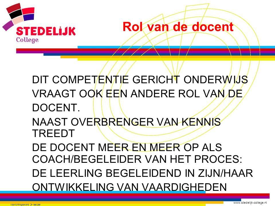 www.stedelijk-college.nl Voorlichtingsavond 2 e leerjaar DIT COMPETENTIE GERICHT ONDERWIJS VRAAGT OOK EEN ANDERE ROL VAN DE DOCENT. NAAST OVERBRENGER