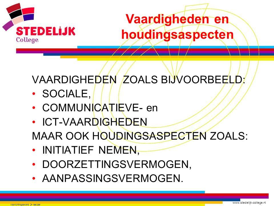 www.stedelijk-college.nl Voorlichtingsavond 2 e leerjaar VAARDIGHEDEN ZOALS BIJVOORBEELD: SOCIALE, COMMUNICATIEVE- en ICT-VAARDIGHEDEN MAAR OOK HOUDIN