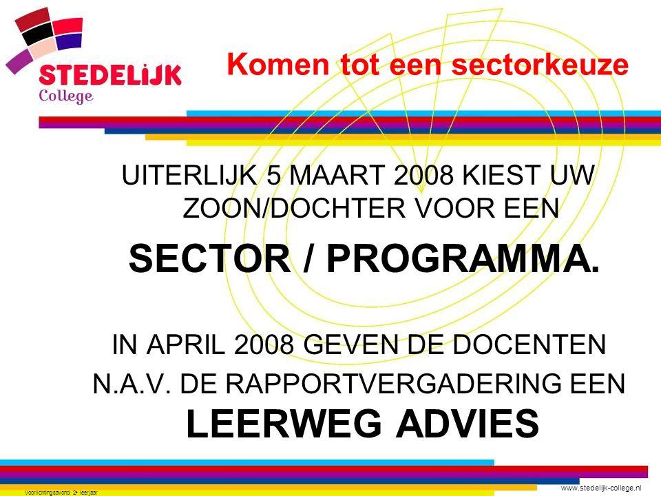 www.stedelijk-college.nl Voorlichtingsavond 2 e leerjaar UITERLIJK 5 MAART 2008 KIEST UW ZOON/DOCHTER VOOR EEN SECTOR / PROGRAMMA. IN APRIL 2008 GEVEN