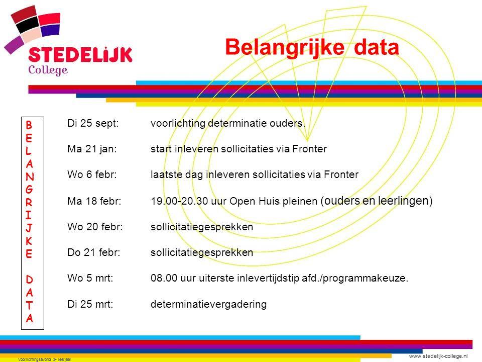 www.stedelijk-college.nl Voorlichtingsavond 2 e leerjaar BELANGRIJKEDATABELANGRIJKEDATA Di 25 sept: voorlichting determinatie ouders. Ma 21 jan: start