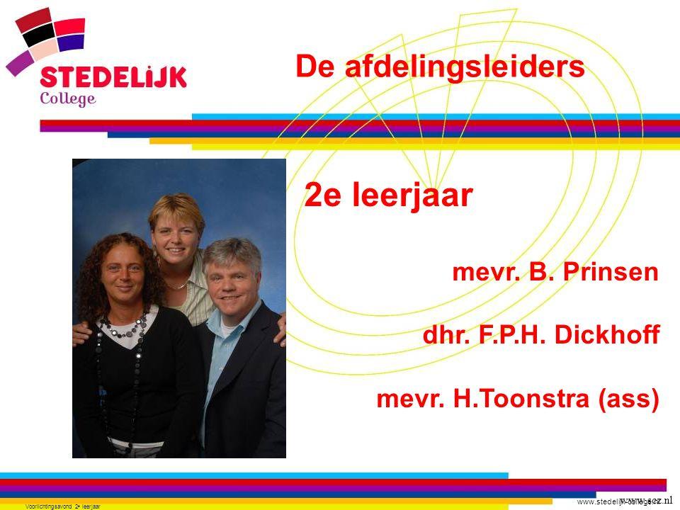www.stedelijk-college.nl Voorlichtingsavond 2 e leerjaar 2e leerjaar mevr. B. Prinsen dhr. F.P.H. Dickhoff mevr. H.Toonstra (ass) www.scz.nl De afdeli