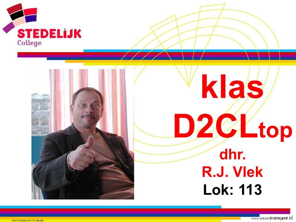 www.stedelijk-college.nl Voorlichtingsavond 2 e leerjaar klas D2CL top dhr. R.J. Vlek Lok: 113 www.scz.nl