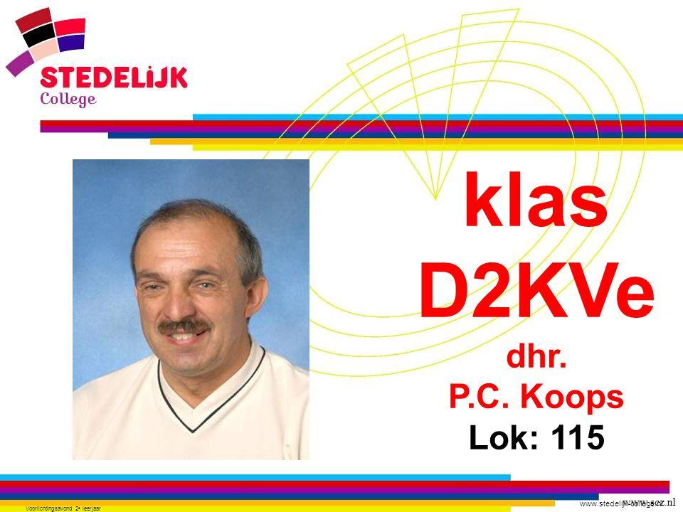 www.stedelijk-college.nl Voorlichtingsavond 2 e leerjaar klas D2KVe dhr. P.C. Koops Lok: 115 www.scz.nl