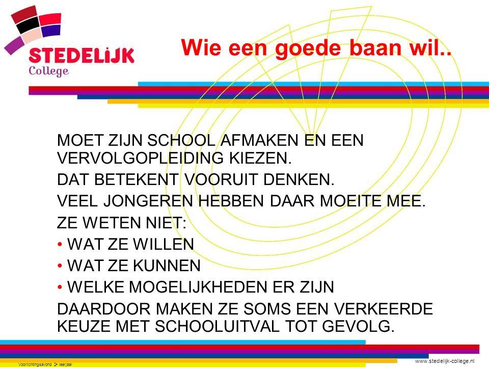 www.stedelijk-college.nl Voorlichtingsavond 2 e leerjaar MOET ZIJN SCHOOL AFMAKEN EN EEN VERVOLGOPLEIDING KIEZEN. DAT BETEKENT VOORUIT DENKEN. VEEL JO