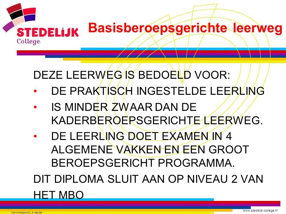 www.stedelijk-college.nl Voorlichtingsavond 2 e leerjaar DEZE LEERWEG IS BEDOELD VOOR: DE PRAKTISCH INGESTELDE LEERLING IS MINDER ZWAAR DAN DE KADERBE