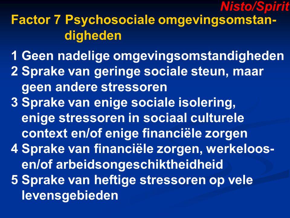 Factor 7 Psychosociale omgevingsomstan- digheden 1 Geen nadelige omgevingsomstandigheden 2 Sprake van geringe sociale steun, maar geen andere stressoren 3 Sprake van enige sociale isolering, enige stressoren in sociaal culturele context en/of enige financiële zorgen 4 Sprake van financiële zorgen, werkeloos- en/of arbeidsongeschiktheidheid 5 Sprake van heftige stressoren op vele levensgebieden Nisto/Spirit
