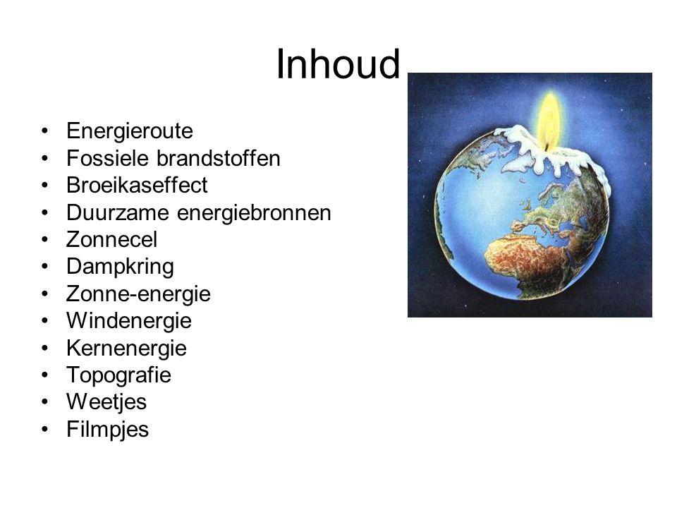 Inhoud Energieroute Fossiele brandstoffen Broeikaseffect Duurzame energiebronnen Zonnecel Dampkring Zonne-energie Windenergie Kernenergie Topografie Weetjes Filmpjes
