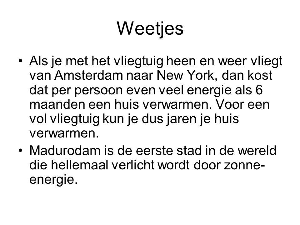 Weetjes Als je met het vliegtuig heen en weer vliegt van Amsterdam naar New York, dan kost dat per persoon even veel energie als 6 maanden een huis verwarmen.