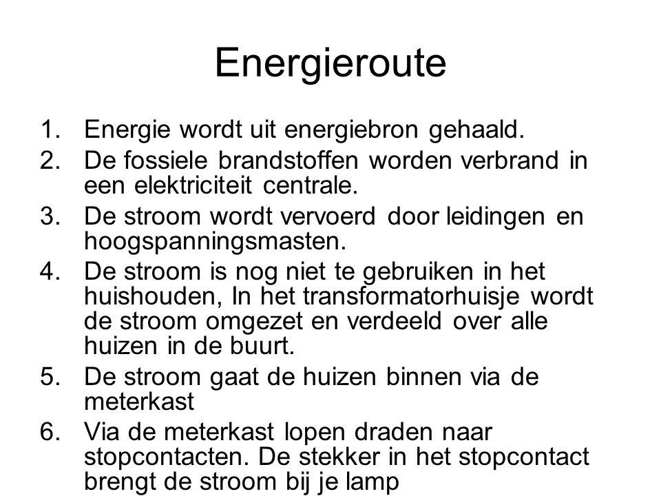 Energieroute 1.Energie wordt uit energiebron gehaald.