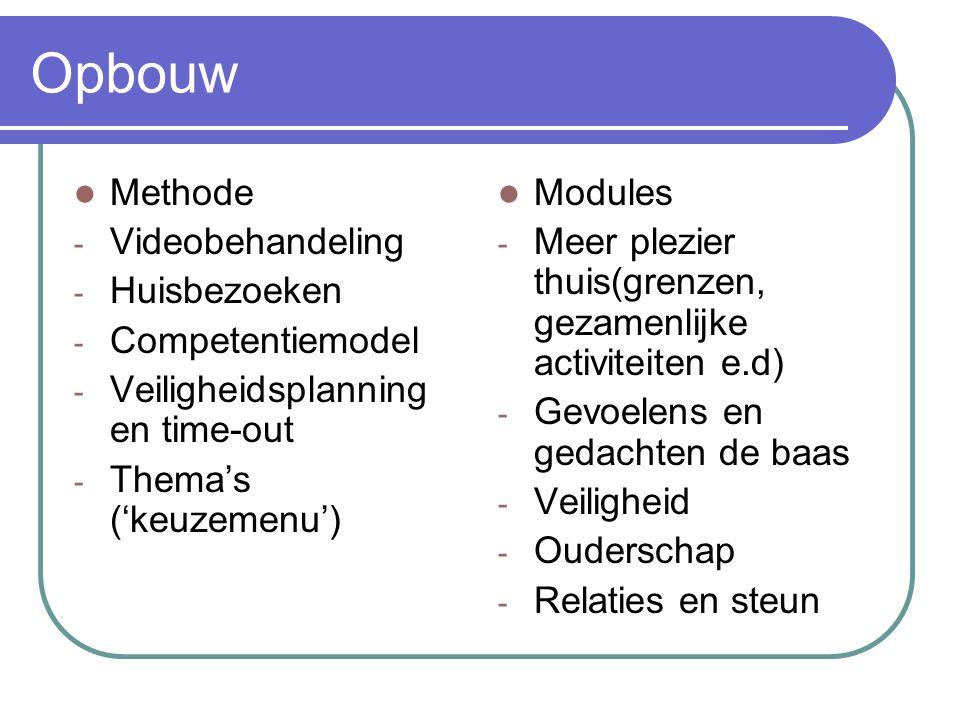 Opbouw Methode - Videobehandeling - Huisbezoeken - Competentiemodel - Veiligheidsplanning en time-out - Thema's ('keuzemenu') Modules - Meer plezier t