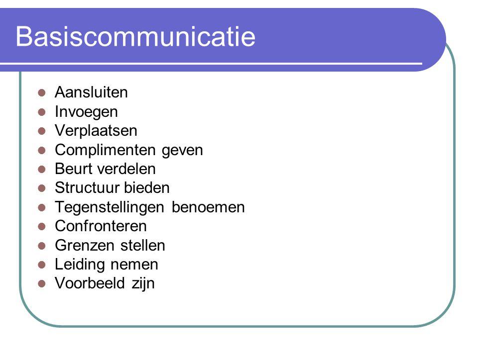 Basiscommunicatie Aansluiten Invoegen Verplaatsen Complimenten geven Beurt verdelen Structuur bieden Tegenstellingen benoemen Confronteren Grenzen ste