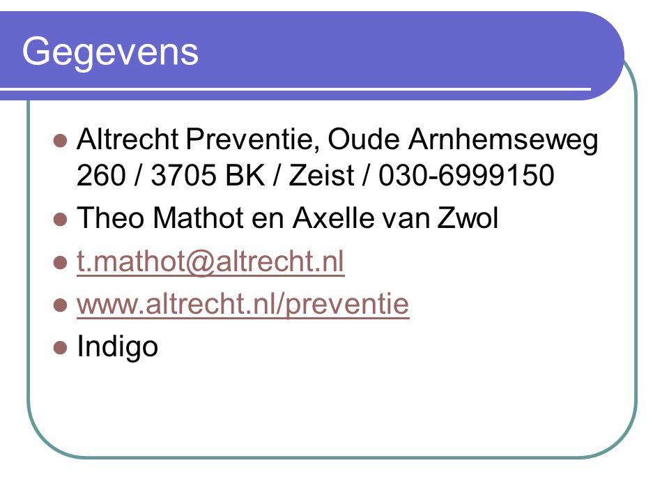 Gegevens Altrecht Preventie, Oude Arnhemseweg 260 / 3705 BK / Zeist / 030-6999150 Theo Mathot en Axelle van Zwol t.mathot@altrecht.nl www.altrecht.nl/