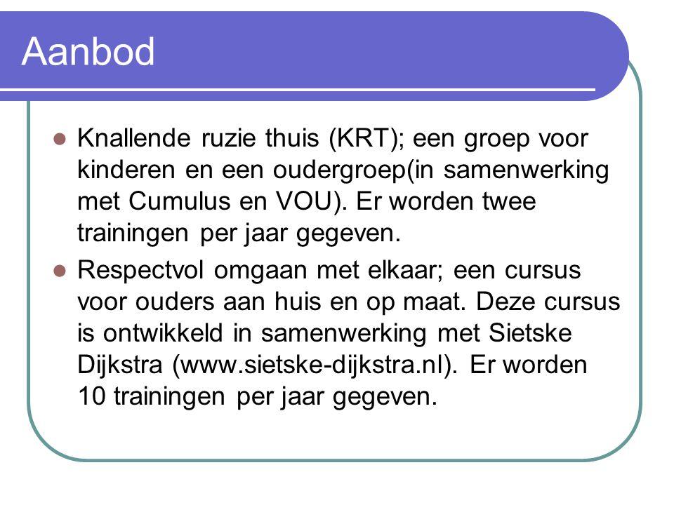Aanbod Knallende ruzie thuis (KRT); een groep voor kinderen en een oudergroep(in samenwerking met Cumulus en VOU). Er worden twee trainingen per jaar