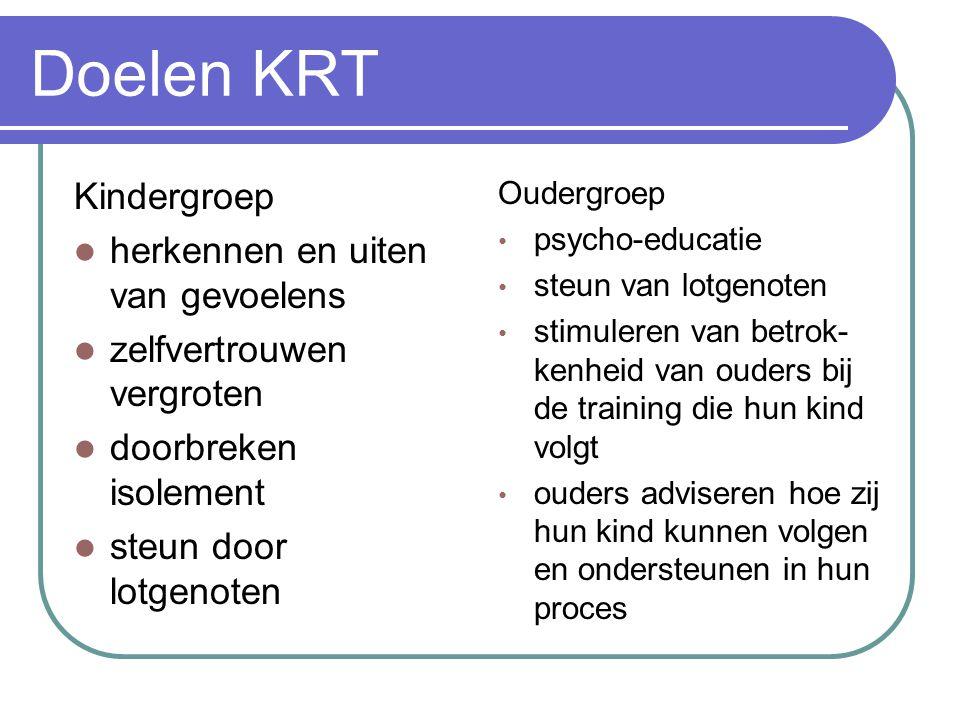Doelen KRT Kindergroep herkennen en uiten van gevoelens zelfvertrouwen vergroten doorbreken isolement steun door lotgenoten Oudergroep psycho-educatie