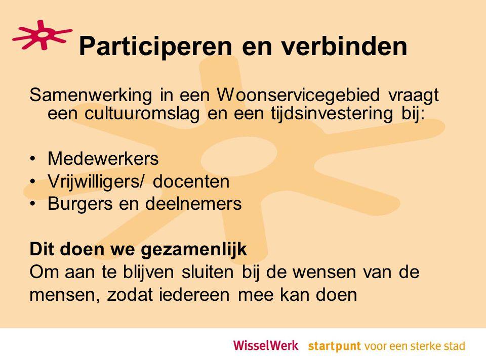 Participeren en verbinden Samenwerking in een Woonservicegebied vraagt een cultuuromslag en een tijdsinvestering bij: Medewerkers Vrijwilligers/ docenten Burgers en deelnemers Dit doen we gezamenlijk Om aan te blijven sluiten bij de wensen van de mensen, zodat iedereen mee kan doen