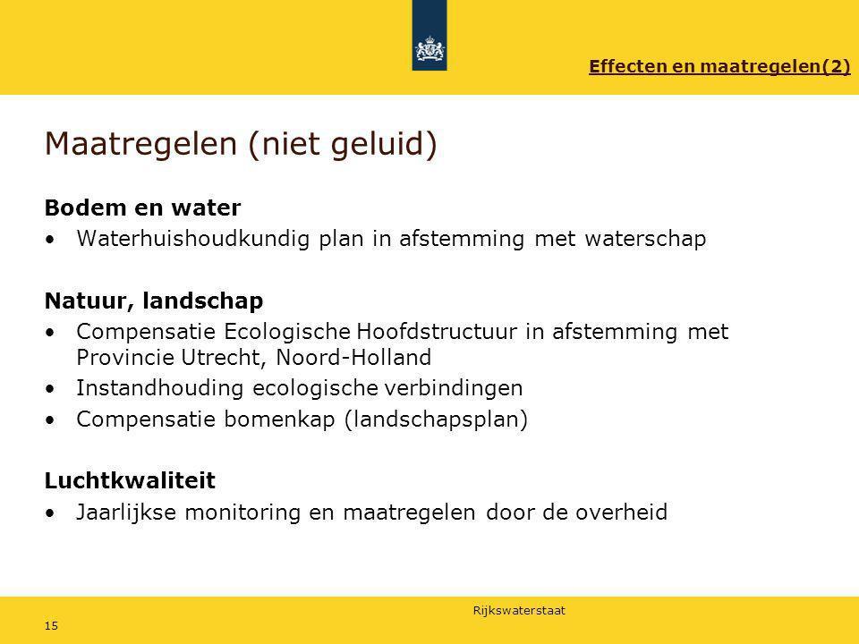 Rijkswaterstaat 15 Maatregelen (niet geluid) Bodem en water Waterhuishoudkundig plan in afstemming met waterschap Natuur, landschap Compensatie Ecolog