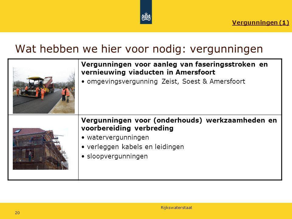 Rijkswaterstaat 20 Wat hebben we hier voor nodig: vergunningen Vergunningen voor aanleg van faseringsstroken en vernieuwing viaducten in Amersfoort om