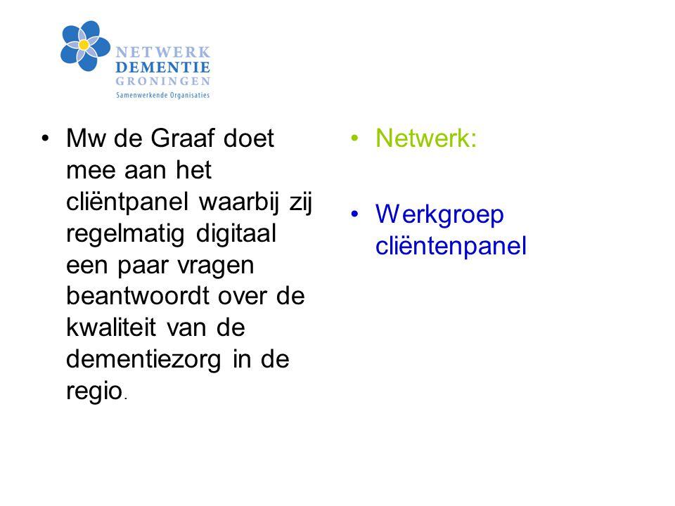 Mw de Graaf doet mee aan het cliëntpanel waarbij zij regelmatig digitaal een paar vragen beantwoordt over de kwaliteit van de dementiezorg in de regio.